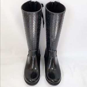 Coach Signature Tall Black Rain Boots Fern Sz 7